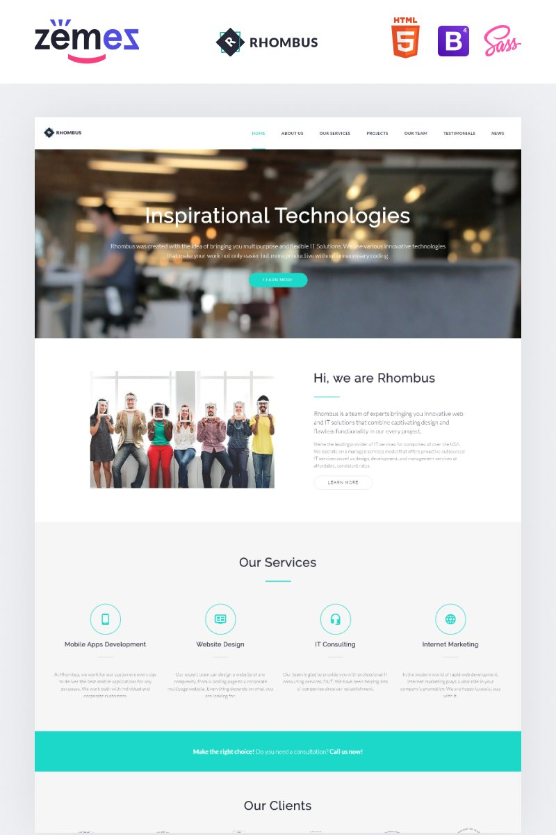 """Phombus - Minimalistic IT Solutions Company"" 响应式着陆页模板 #71360 - 截图"