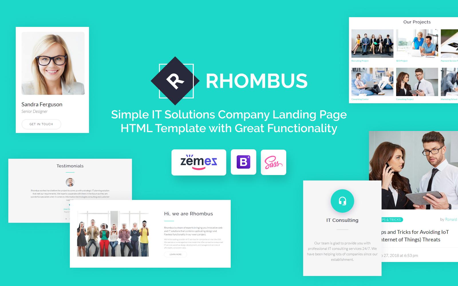 "Plantilla Para Página De Aterrizaje ""Rhombus - Minimalistic IT Solutions Company"" #71360"