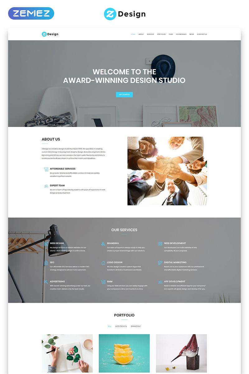 Responsywny szablon Landing Page Z Design - Design Studio HTML #71322