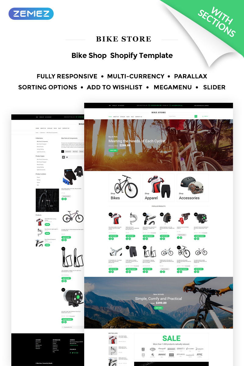 "Tema Shopify ""Bike Store Responsive"" #71319"