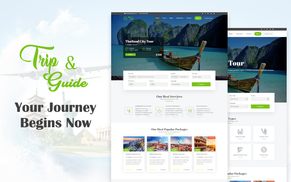 "Template WordPress Responsive #71305 ""Trip & Guide - Tour, Travel & Travel Agency"""