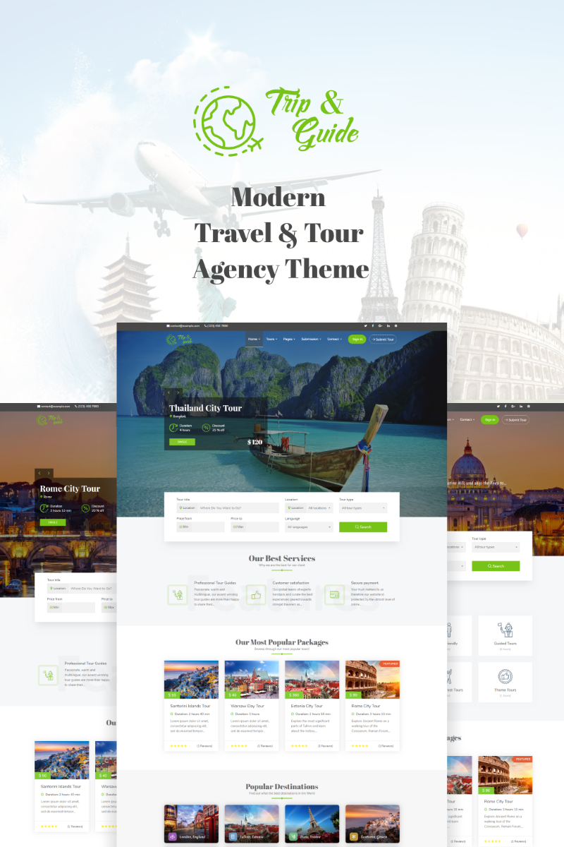 """Trip & Guide - Tour, Travel & Travel Agency"" Responsive WordPress thema №71305"
