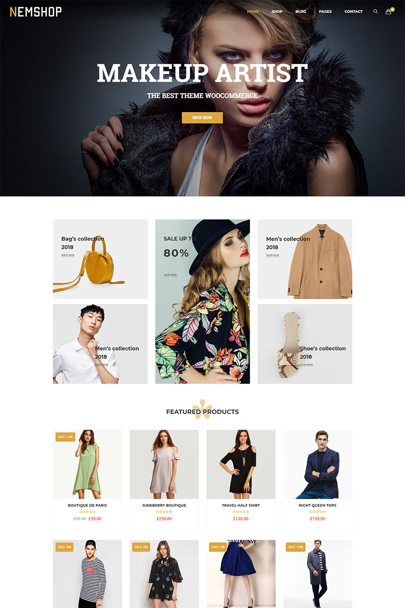 Website Design Template 71485 - ecommerce fashion minimal modern multipurpose online store retail shop shopping woocommerce