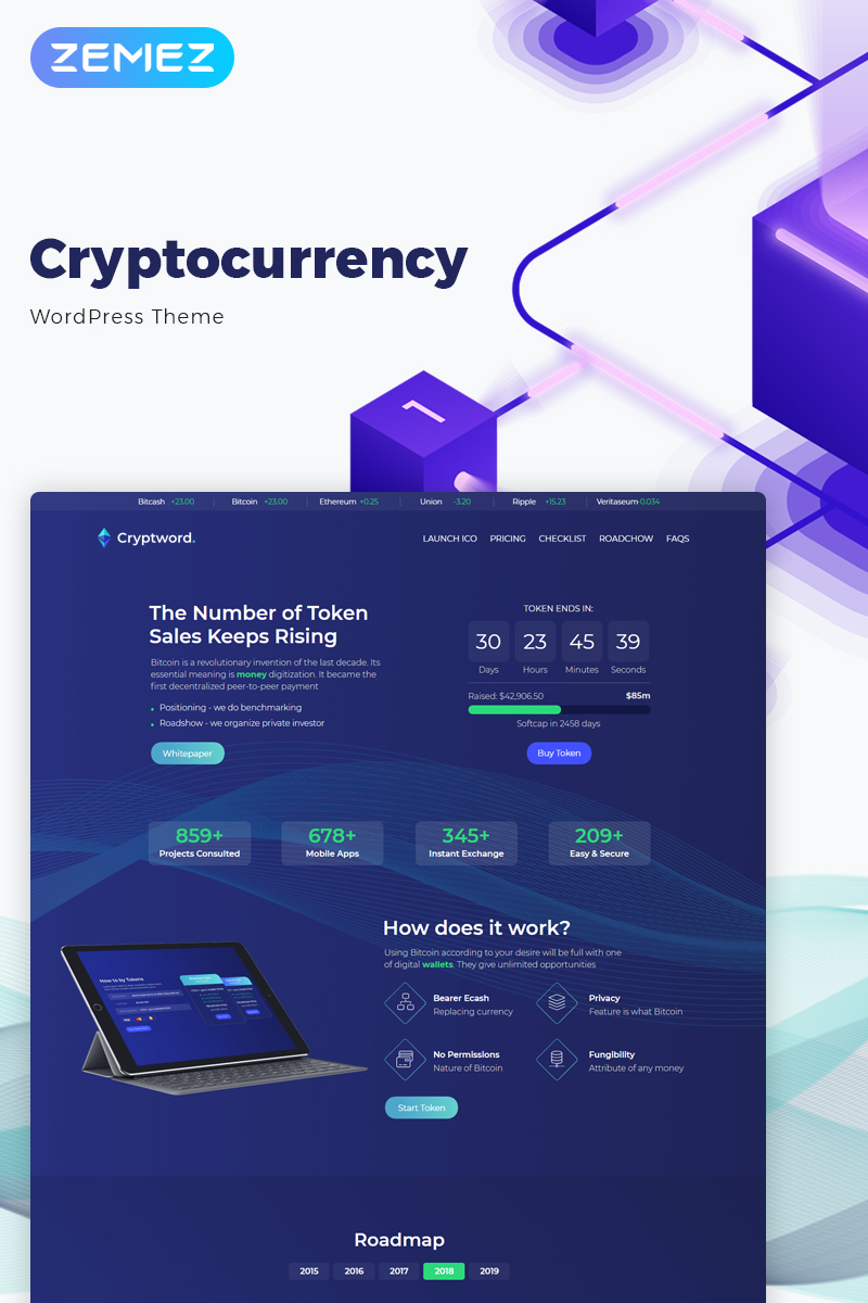 Cryptword - Cryptocurrency Elementor WordPress Theme - screenshot