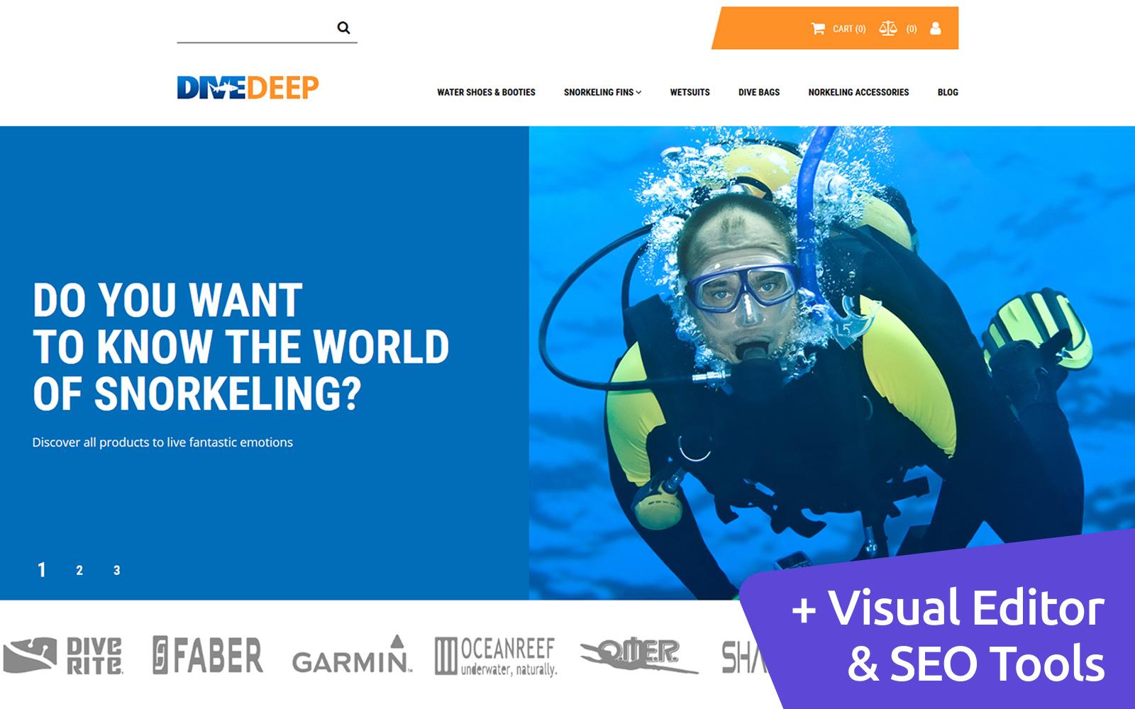 """DiveDeep - Snorkeling Gear Store"" - адаптивний MotoCMS інтернет-магазин №71469"
