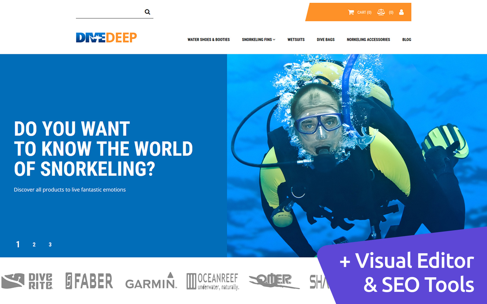 DiveDeep - Snorkeling Gear Store MotoCMS Ecommerce Template