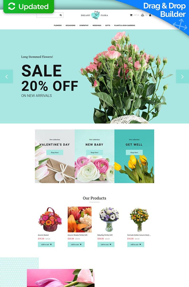 Dreamy Flora - Flower Shop Template Ecommerce MotoCMS №71470