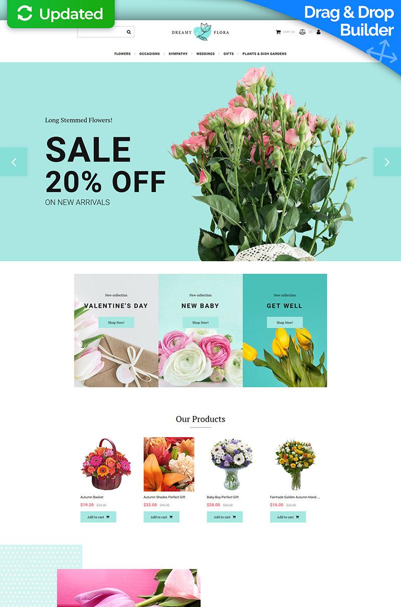 """Dreamy Flora - Flower Shop"" 响应式MotoCMS电子商务模板 #71470"