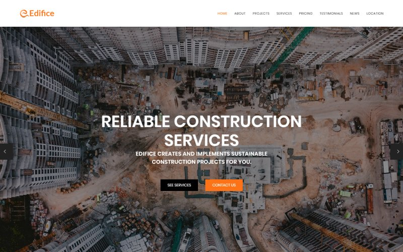 """Edifice - Construction Services HTML"" modèle  de page d'atterrissage adaptatif #71437"