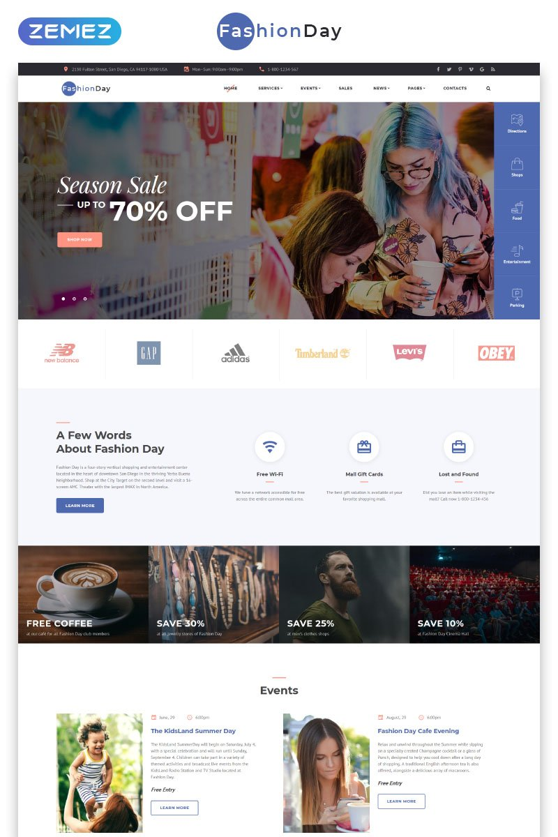 """Fashion Day - Fashion Shop Multipage HTML"" modèle web adaptatif #71436"