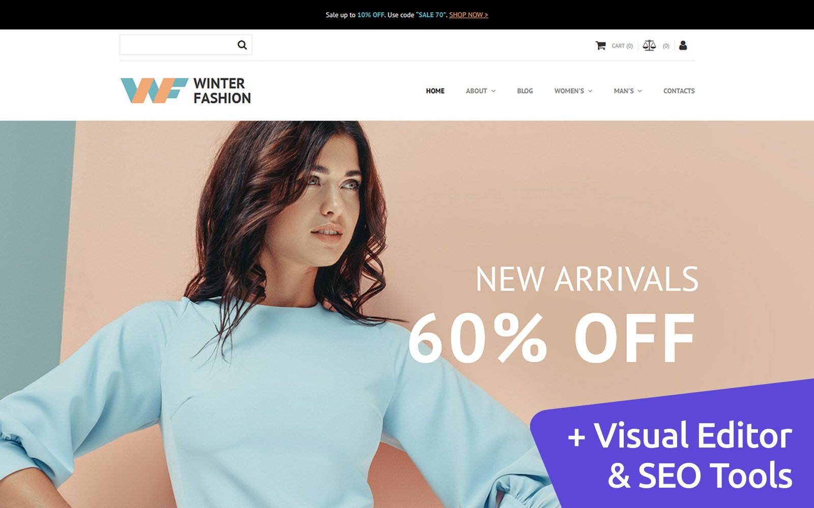 Fashionable Winter Wear MotoCMS Ecommerce Template