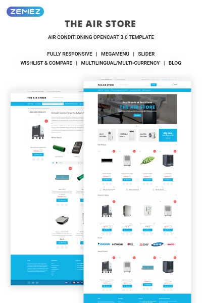 "OpenCart шаблон ""The Air Store - Simple Air Conditioning Systems Online Shop"" #71443"