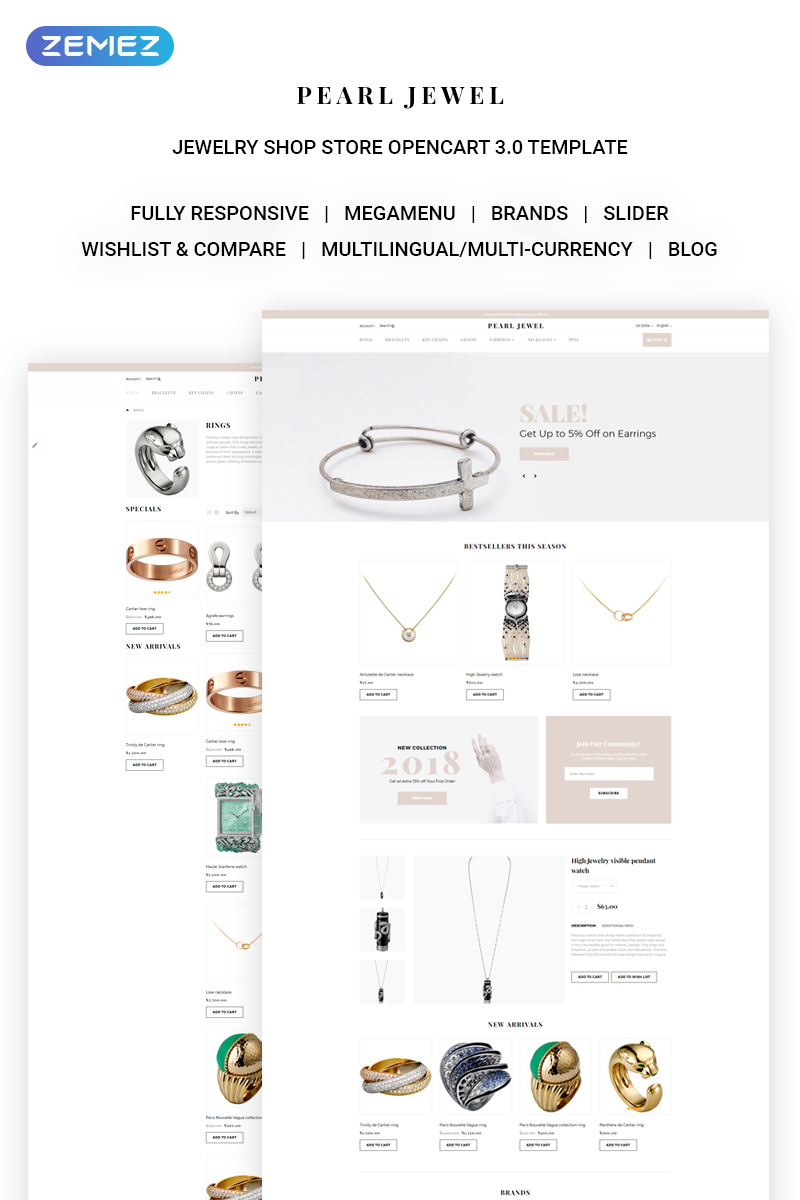 """Pearl Jewel - Sophisticated Jewellery Online Shop"" Responsive OpenCart Template №71444"