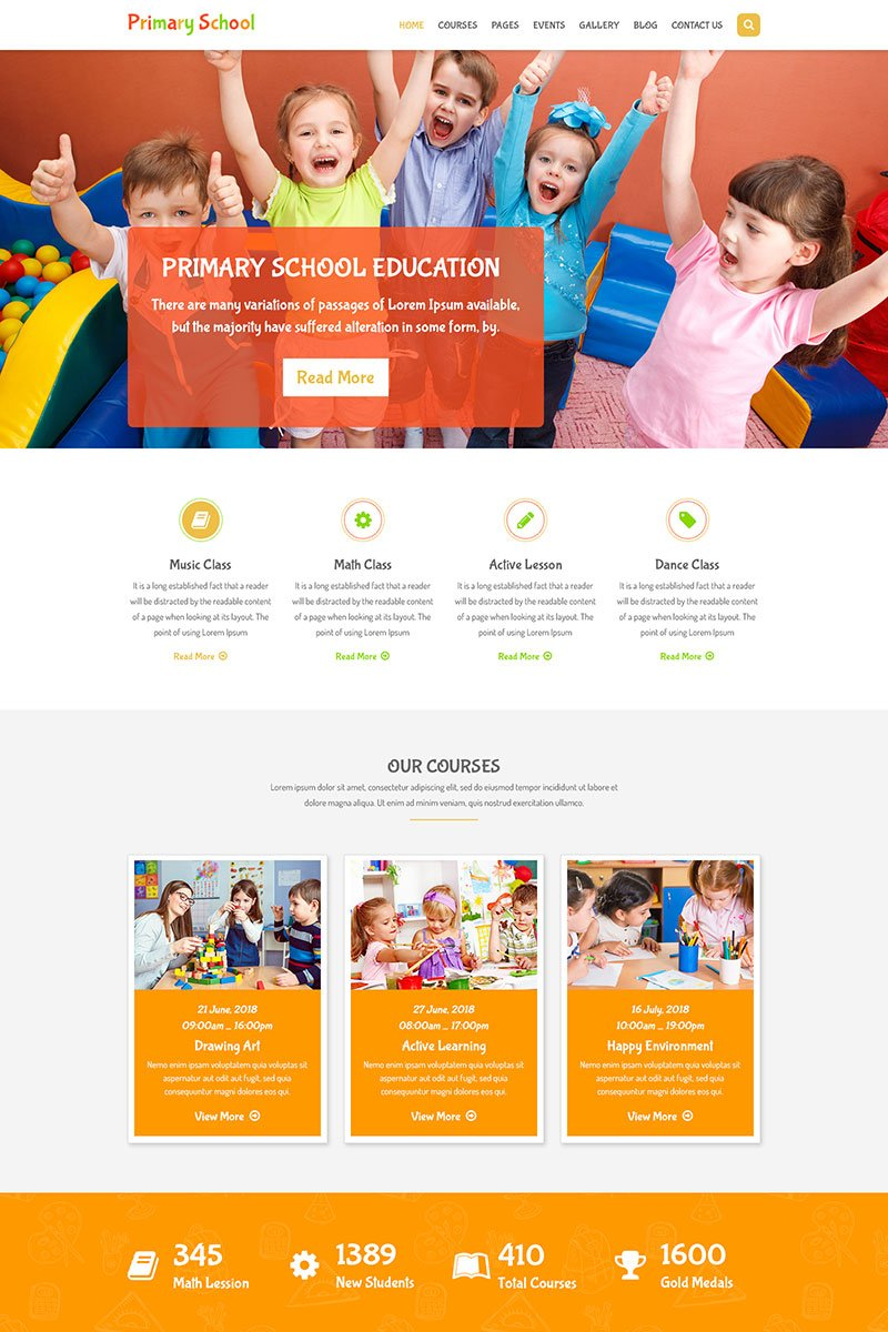 Primary School - Education Primary School for Children PSD Template