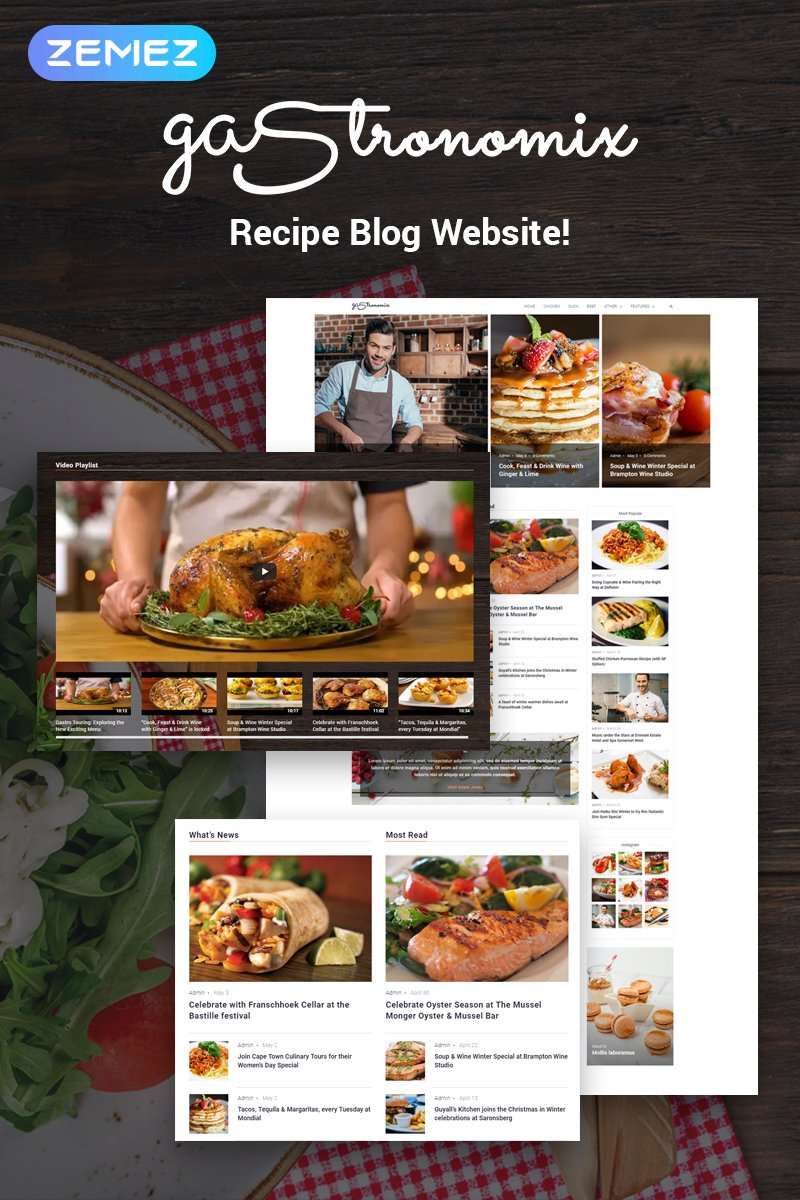 Responsive Gastronomix - Restaurant  Elementor Wordpress #71450