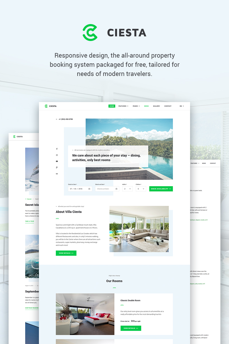Responsivt Ciesta - Resort WordPress-tema #71482