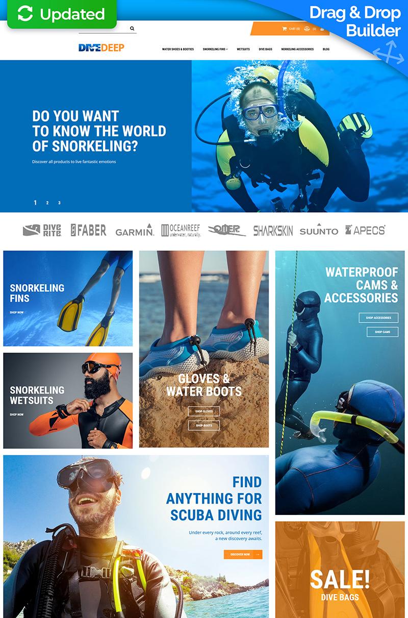 """Responzivní MotoCMS Ecommerce šablona """"DiveDeep - Snorkeling Gear Store"""" #71469"""
