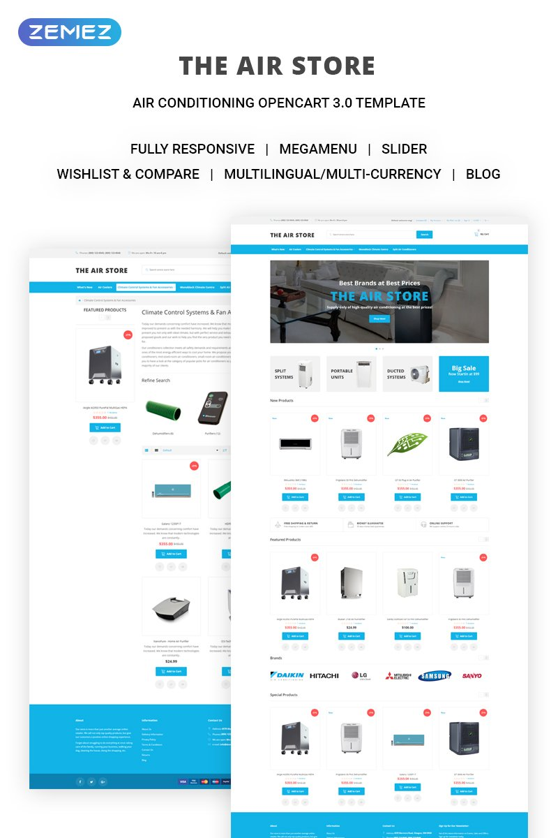 """Responzivní OpenCart šablona """"The Air Store - Simple Air Conditioning Systems Online Shop"""" #71443"""
