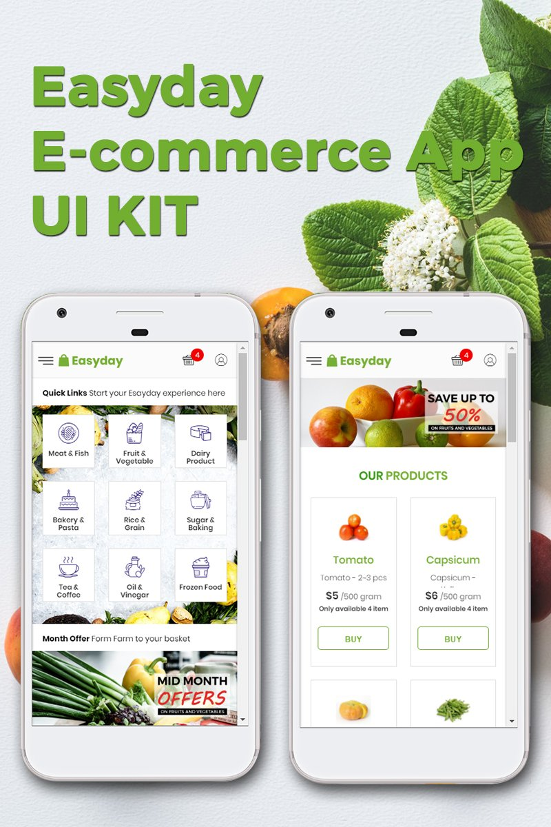 """Responzivní Šablona pro aplikace """"Easyday E-commerce App KIT"""" #71442"""