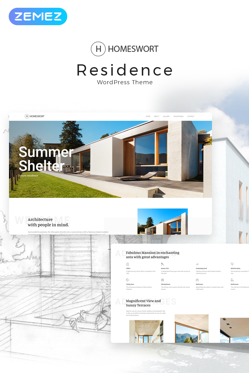 "Tema De WordPress ""Homeswort - Luxury Real Estate Elementor"" #71497"