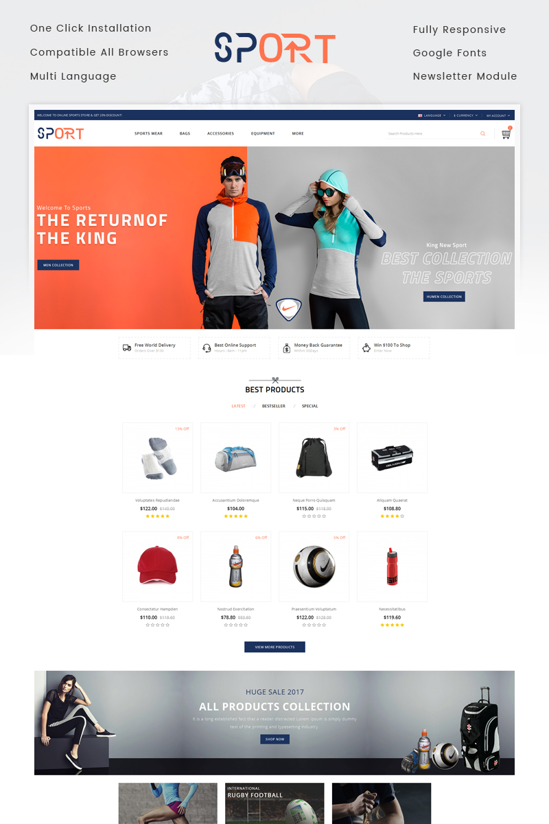 "Template OpenCart Responsive #71419 ""Sports Store"""