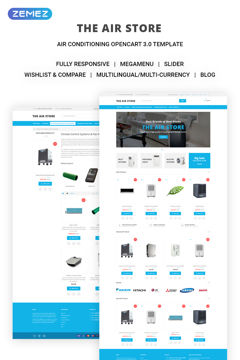 The Air Store - Simple Air Conditioning Systems Online Shop OpenCart Template