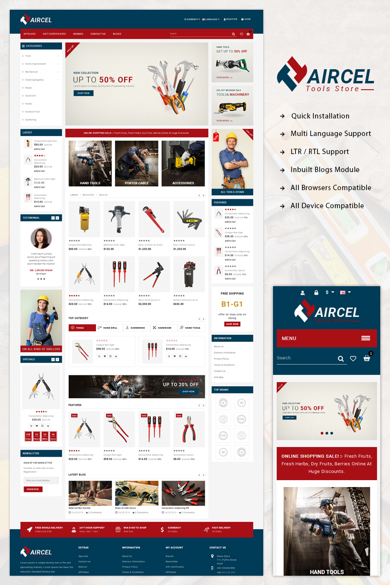 Website Design Template 71522 - opencart fashion bootstrap parallax blogs quickstart documentation templatemonster testimonials megamenu megashop slider tools autopart