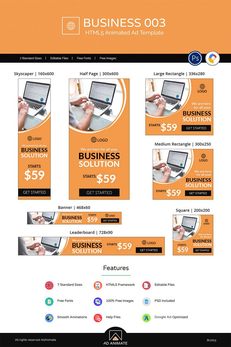 "Animated Banner namens ""Business 003 HTML5 Ad"" #71596 - Screenshot"