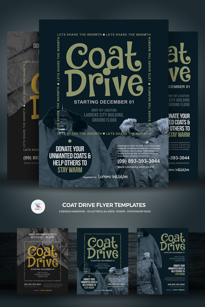 coat drive flyer corporate identity template 71559