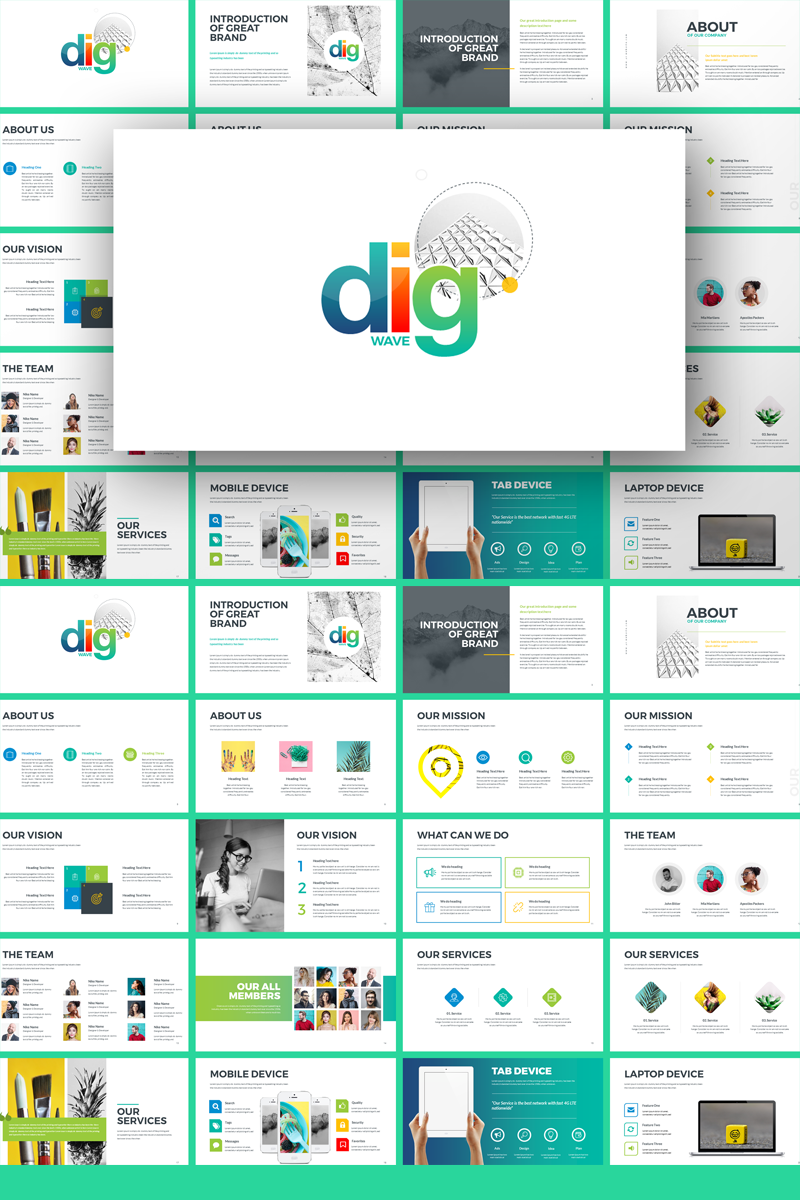 """""""Dig Wave - Presentation"""" PowerPoint Template №71594"""
