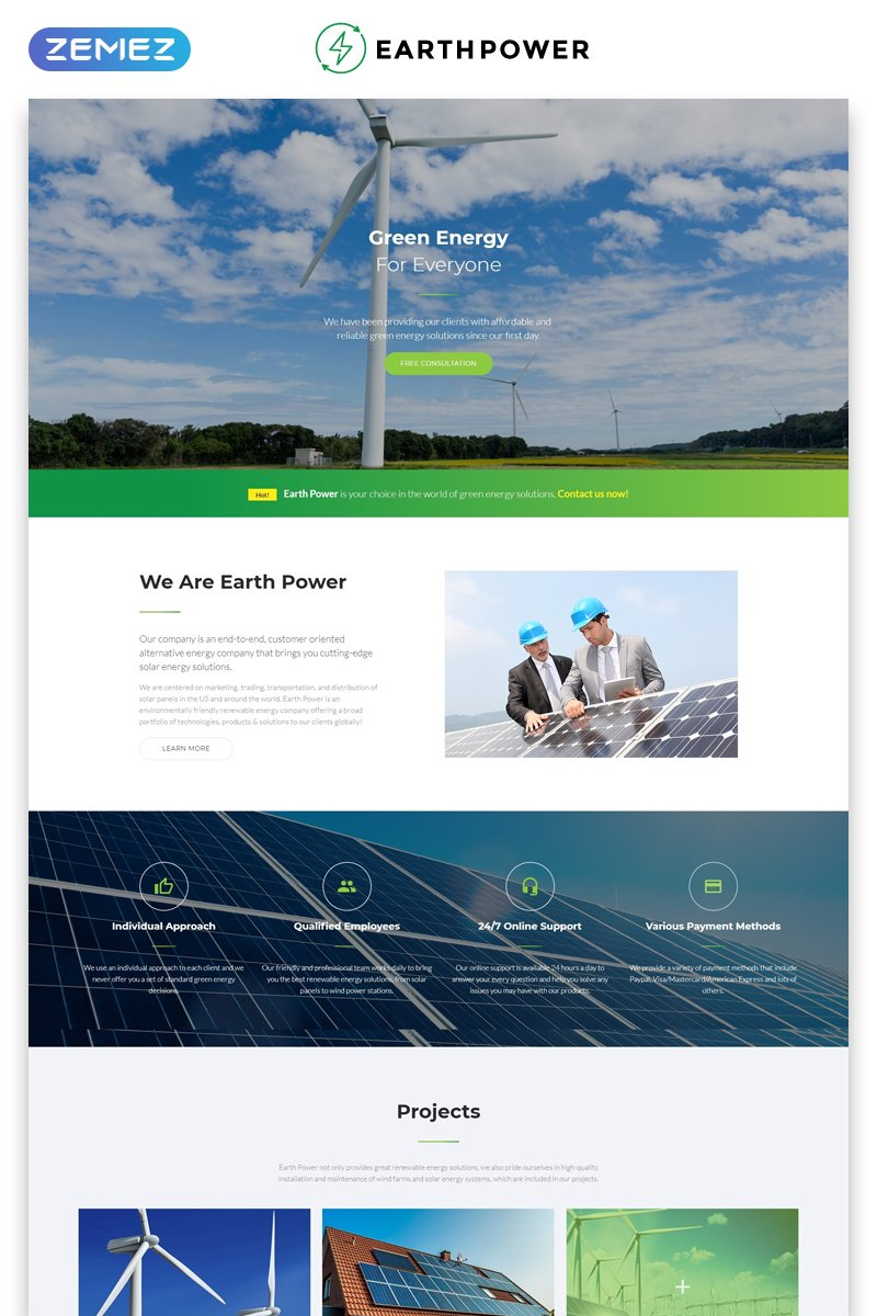 Green Energy Landing Page Html5 Template