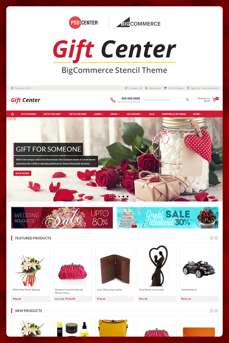 """GiftCenter Multipurpose"" 响应式BigCommerce Theme #71562"