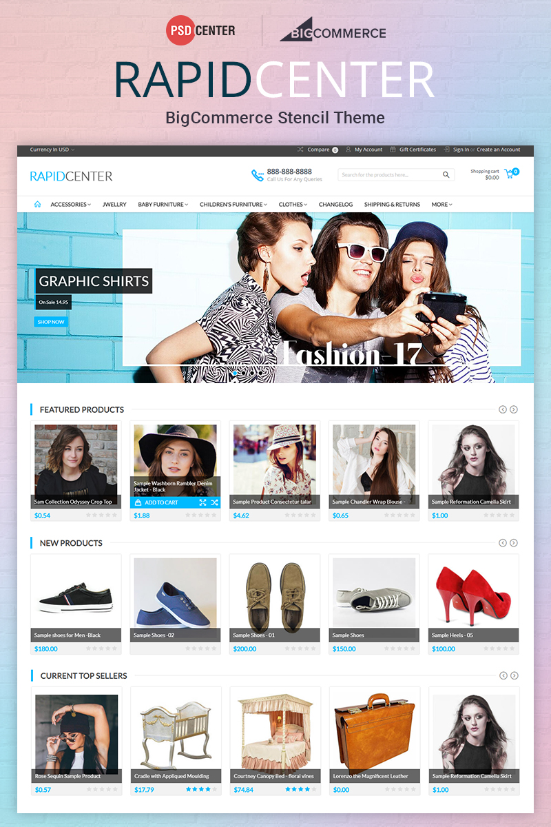 Responsivt RapidCenter Multipurpose BigCommerce Theme #71560
