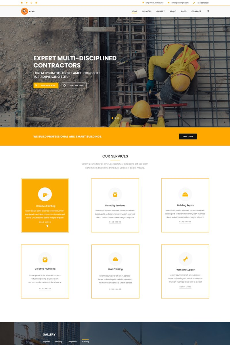 Responsivt Revo Construction Multi - Page Web PSD-mall #71567
