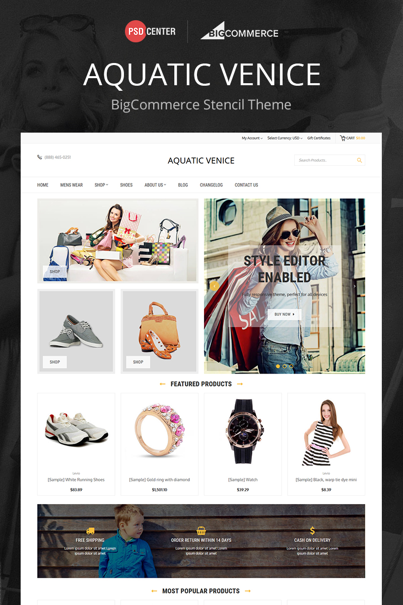Responsywny bigCommerce Theme Aquatic Venice Multipurpose #71520