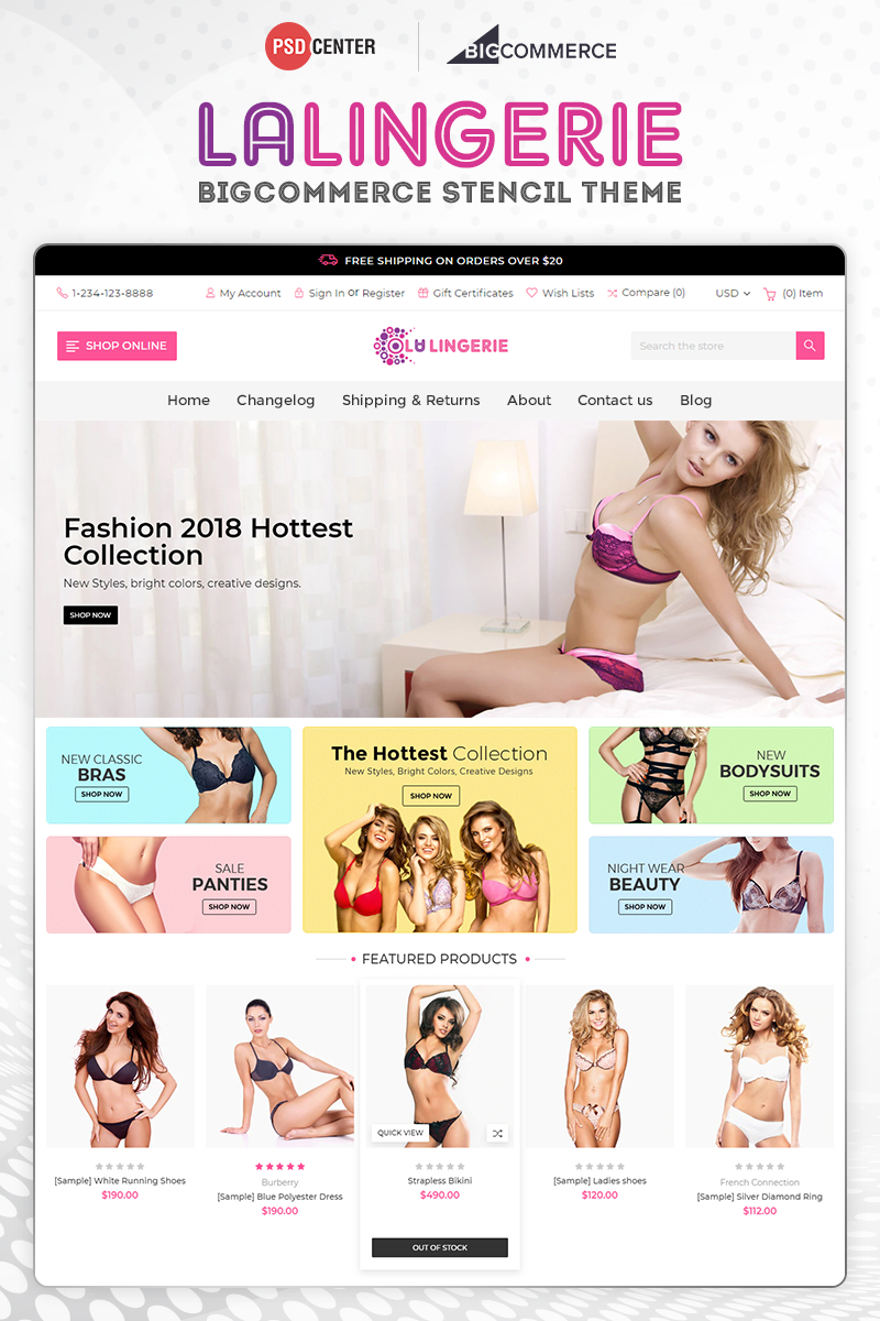 Responsywny bigCommerce Theme La Lingerie #71557 - zrzut ekranu