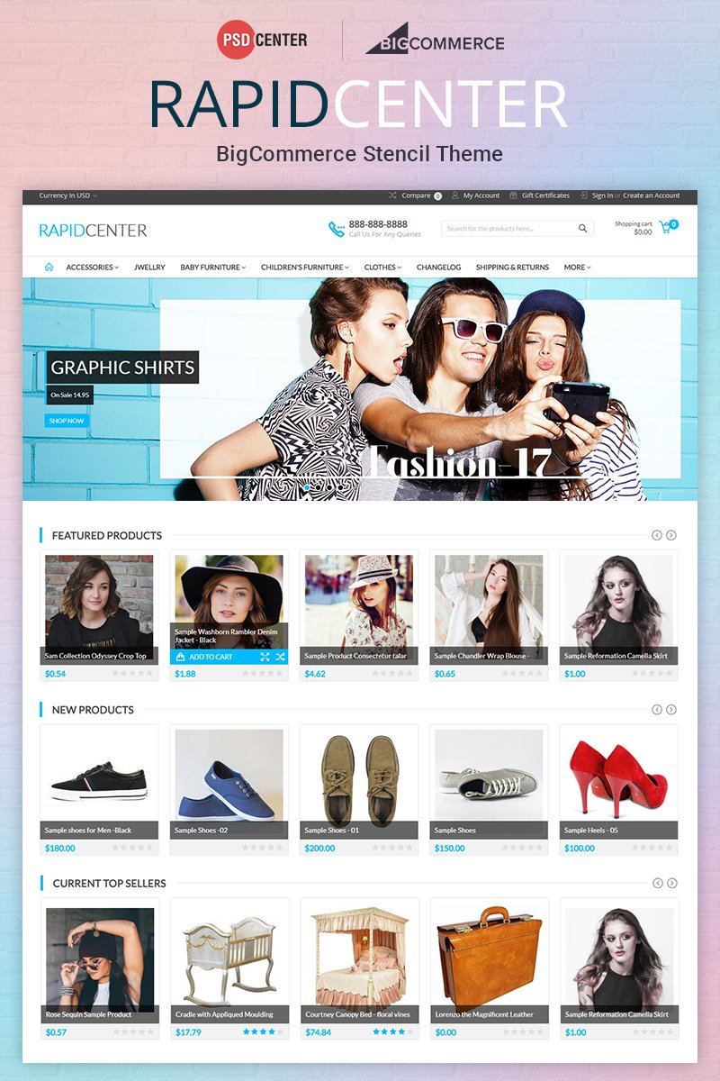 Responsywny bigCommerce Theme RapidCenter Multipurpose #71560