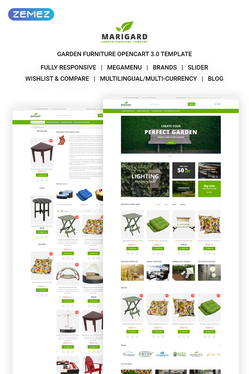 Responsywny szablon OpenCart Marigard - Efficient Garden Furniture Online Shop #71574