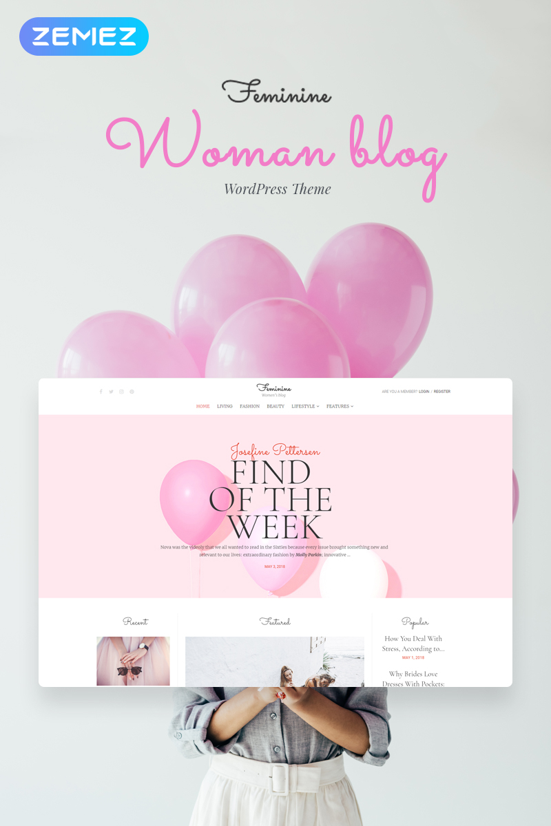 Reszponzív Feminine - Woman Blog Elementor WordPress sablon 71586