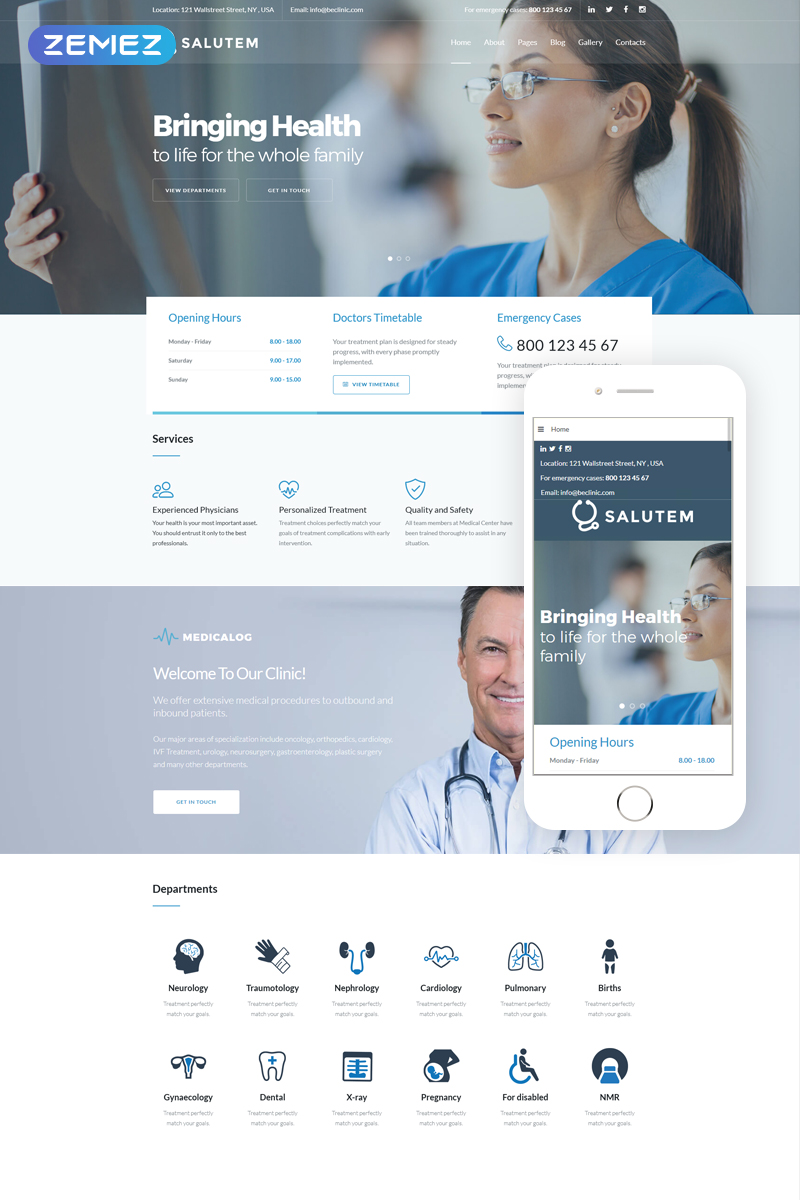 """Salutem - Medical and Healthcare Clean"" - адаптивний Joomla шаблон №71513"