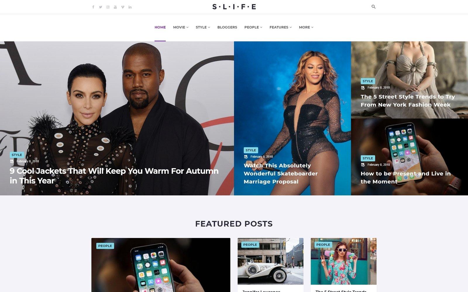 """Slife - Lifestyle Elementor"" 响应式WordPress模板 #71519"