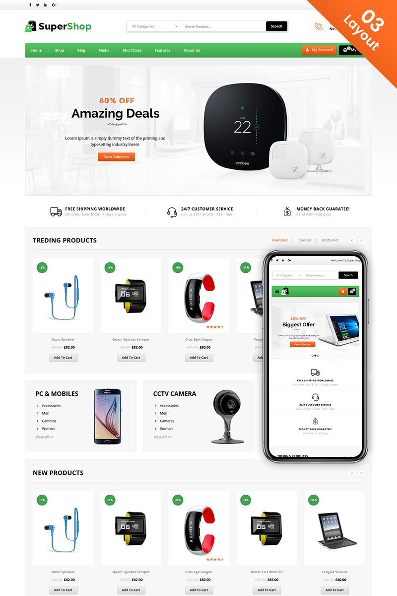"""Super Shop - Multi Purpose Store"" thème WooCommerce adaptatif #71504"