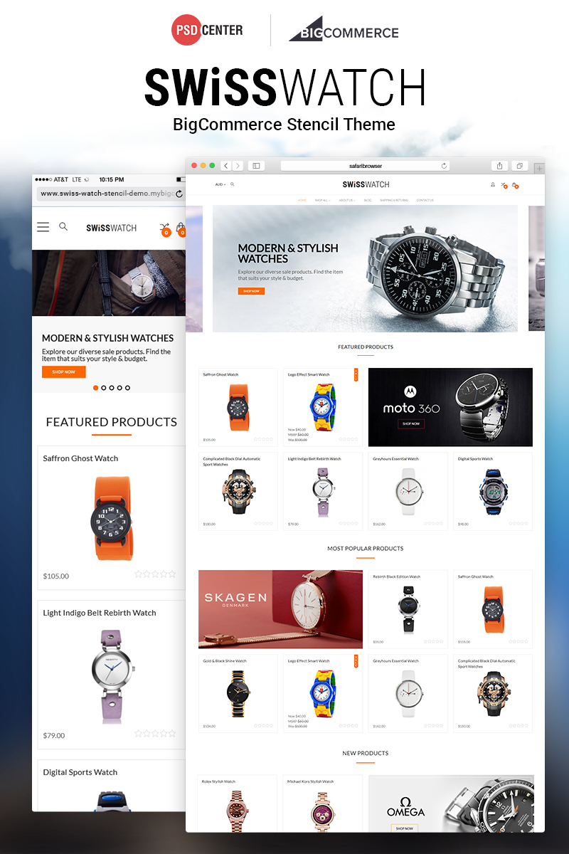 """Swiss Watch"" 奖金BigCommerce Theme #71508"