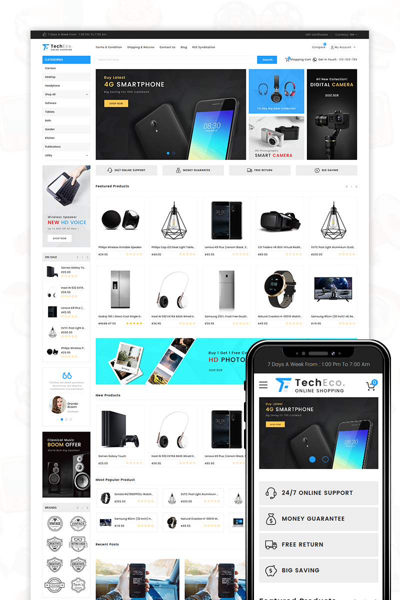 """TechEco"" bigCommerce Theme adaptatif #71521"