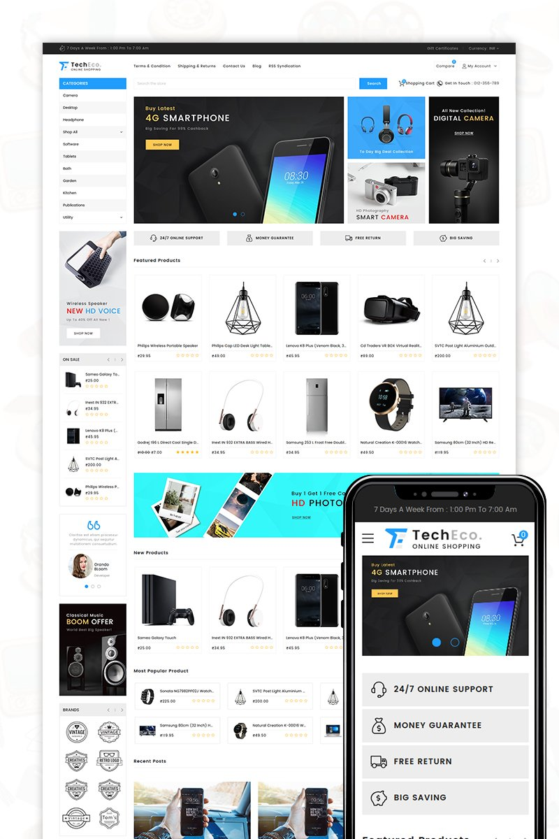 TechEco BigCommerce Theme №71521 - captura de tela