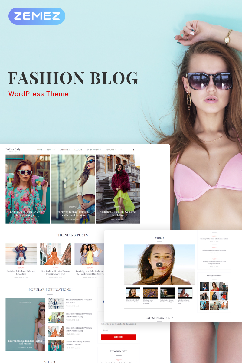 "WordPress Theme namens ""Fashion Daily - Fashion Blog Elementor"" #71555"