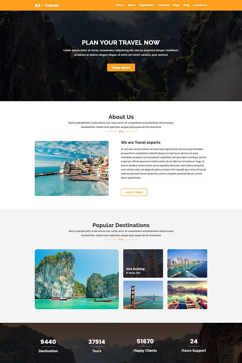 AS-TRAVEL - Tours and Travel PSD Template