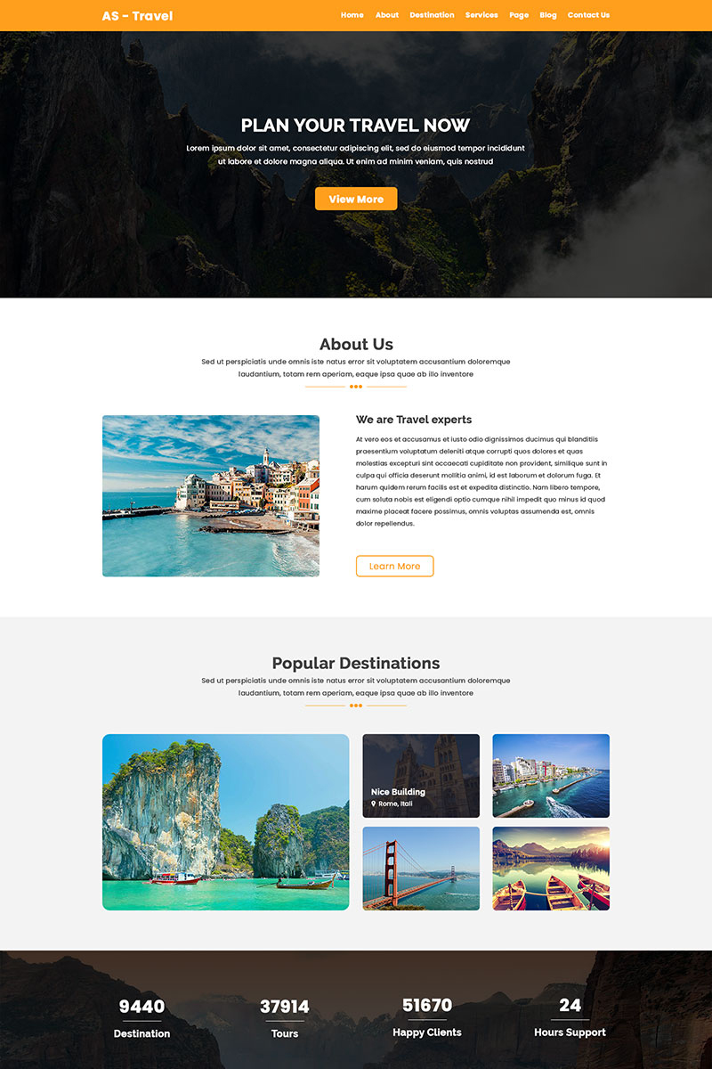 """""""AS-TRAVEL - Tours and Travel"""" Responsive PSD Template №71672"""