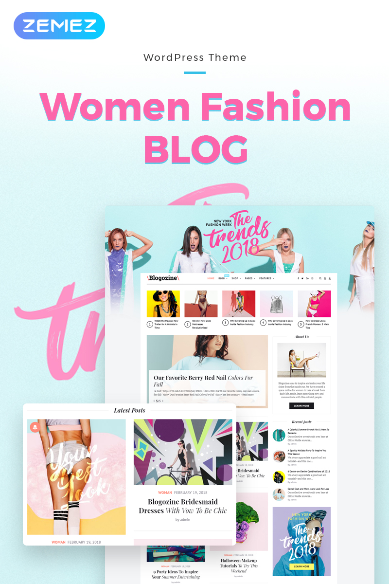 """Blogozine - Fashion Elementor"" - адаптивний WordPress шаблон №71661"