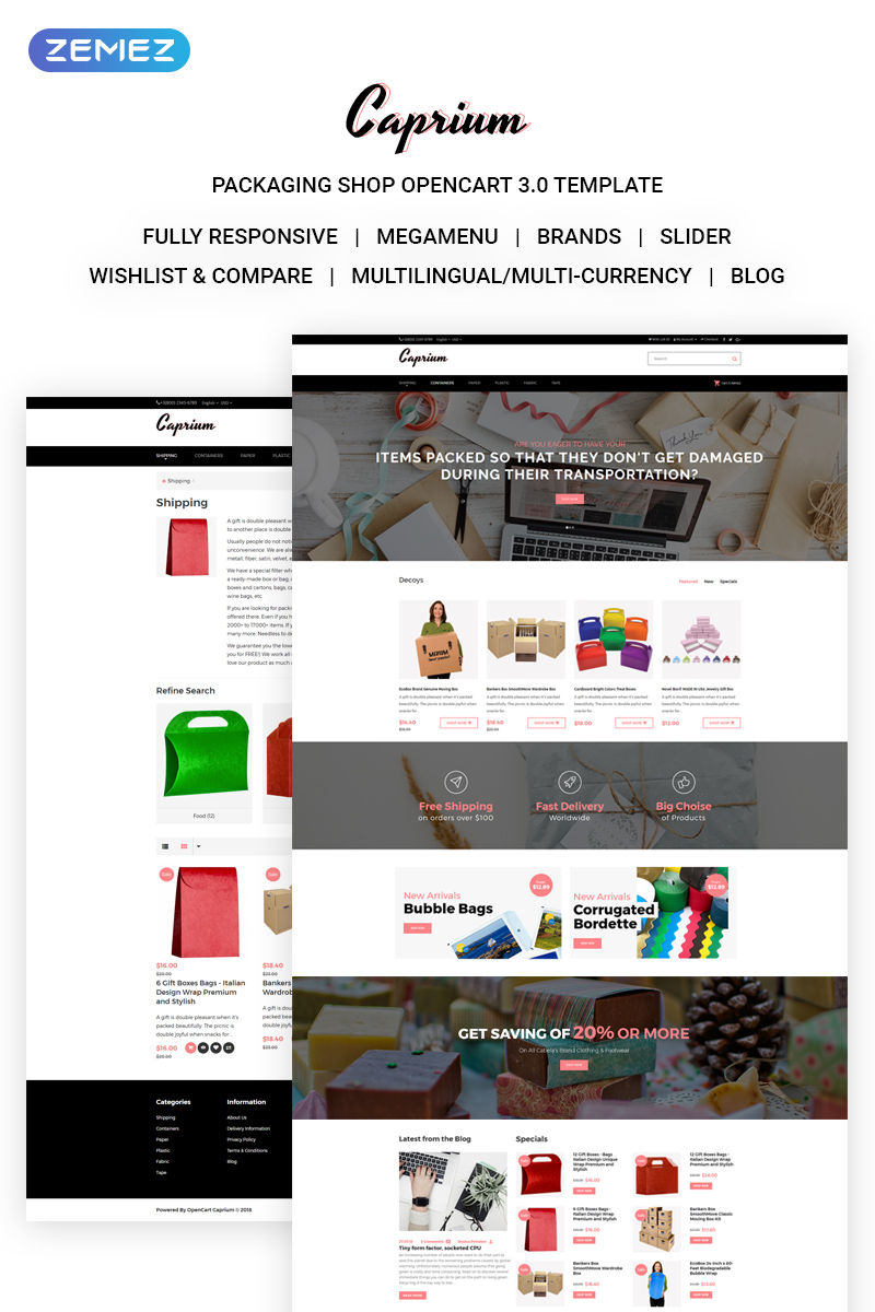Caprium - Packaging Shop OpenCart Template